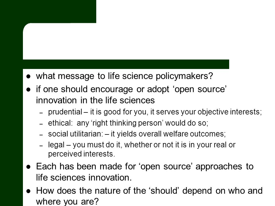 what message to life science policymakers.