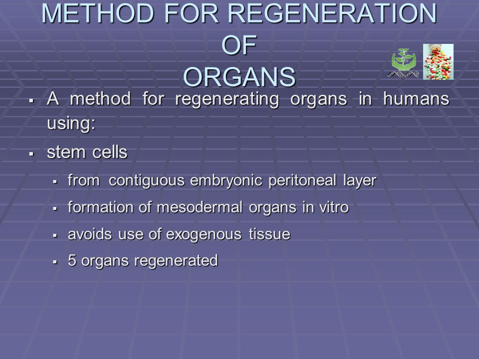 METHOD FOR REGENERATION OF ORGANS A method for regenerating organs in humans using: A method for regenerating organs in humans using: stem cells stem cells from contiguous embryonic peritoneal layer from contiguous embryonic peritoneal layer formation of mesodermal organs in vitro formation of mesodermal organs in vitro avoids use of exogenous tissue avoids use of exogenous tissue 5 organs regenerated 5 organs regenerated