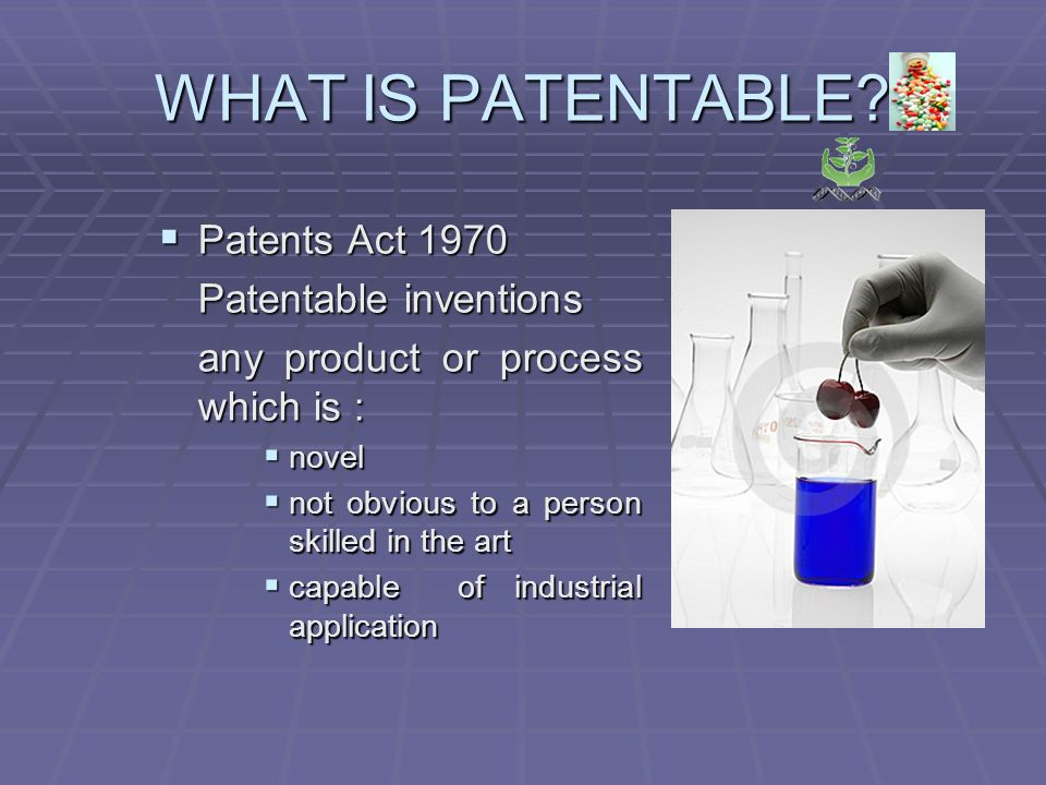 WHAT IS PATENTABLE.