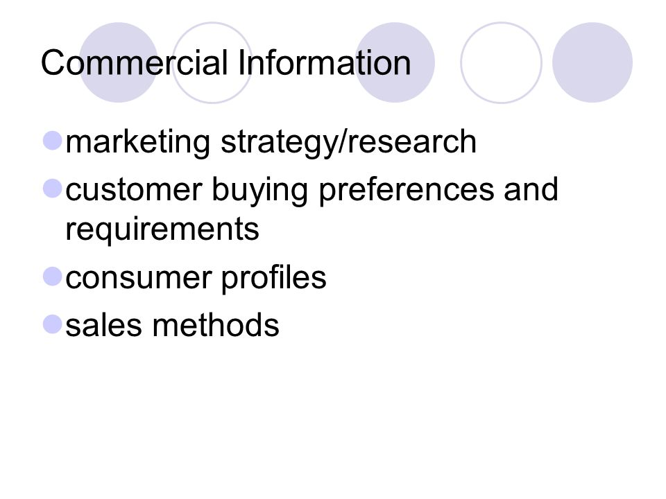 Commercial Information marketing strategy/research customer buying preferences and requirements consumer profiles sales methods