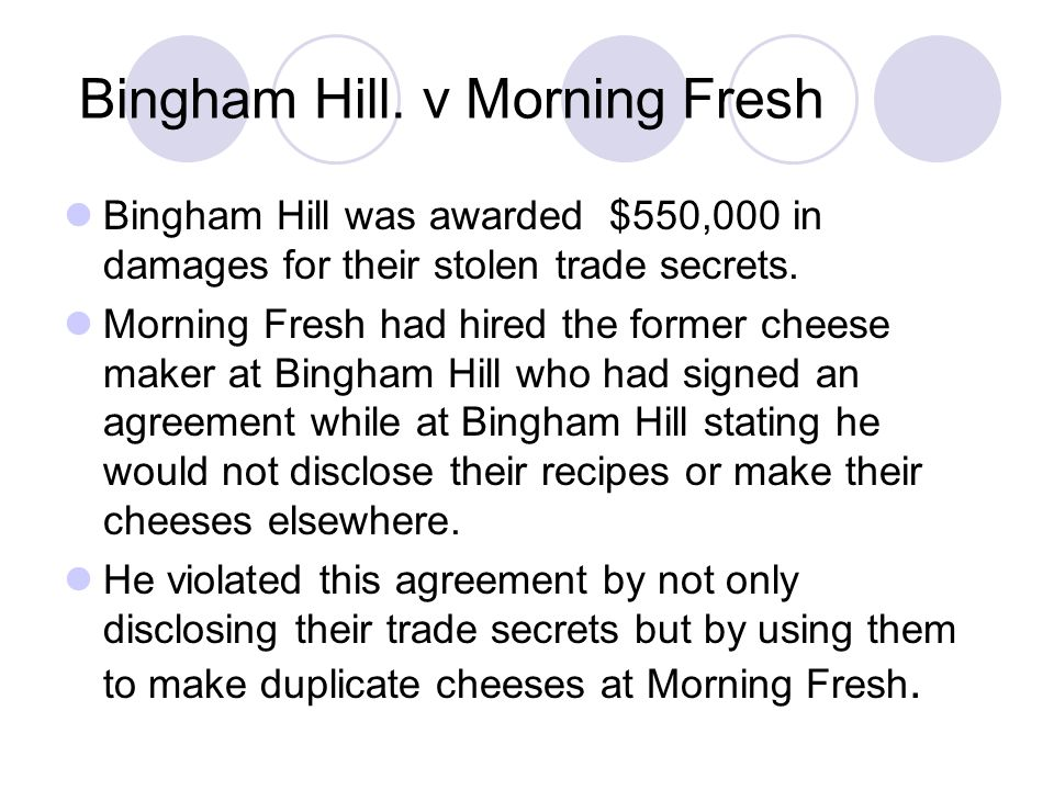 Bingham Hill. v Morning Fresh Bingham Hill was awarded $550,000 in damages for their stolen trade secrets. Morning Fresh had hired the former cheese m