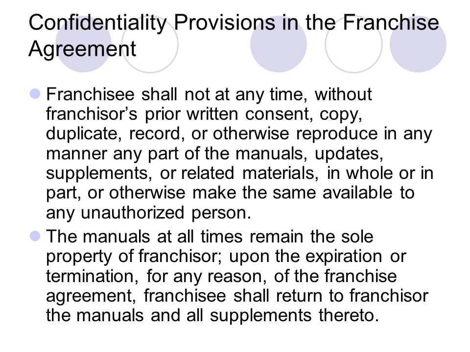 Franchisee shall not at any time, without franchisors prior written consent, copy, duplicate, record, or otherwise reproduce in any manner any part of