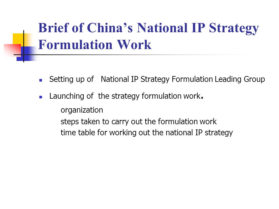 Brief of Chinas National IP Strategy Formulation Work Setting up of National IP Strategy Formulation Leading Group Launching of the strategy formulati