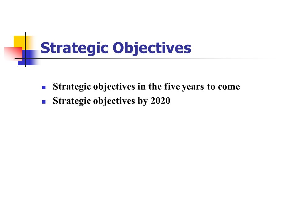 Strategic Objectives Strategic objectives in the five years to come Strategic objectives by 2020