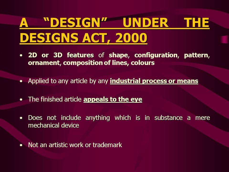A DESIGN UNDER THE DESIGNS ACT, 2000 2D or 3D features2D or 3D features of shape, configuration, pattern, ornament, composition of lines, colours indu