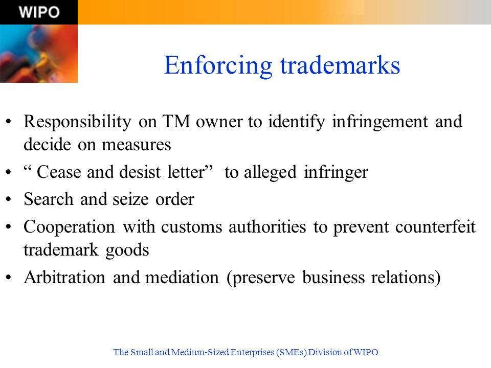 The Small and Medium-Sized Enterprises (SMEs) Division of WIPO Enforcing trademarks Responsibility on TM owner to identify infringement and decide on