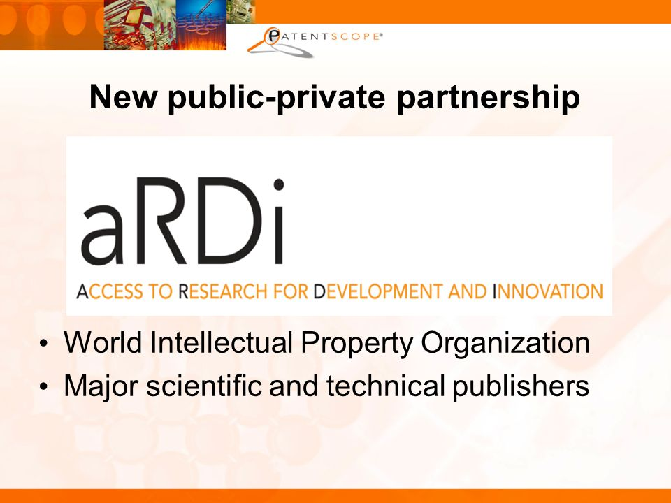 New public-private partnership World Intellectual Property Organization Major scientific and technical publishers