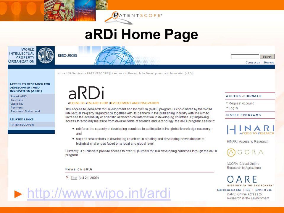 aRDi Home Page http://www.wipo.int/ardi