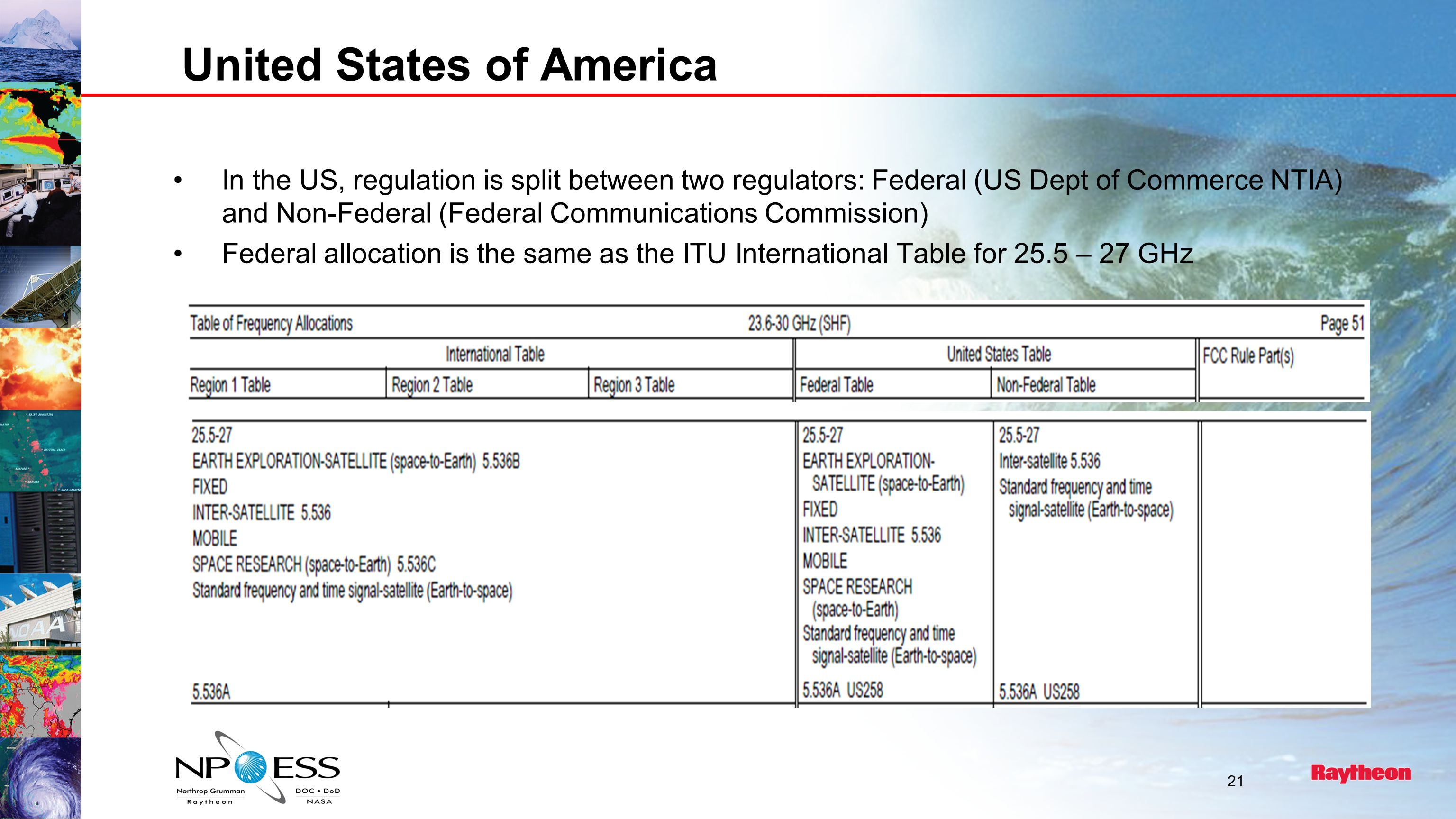 United States of America In the US, regulation is split between two regulators: Federal (US Dept of Commerce NTIA) and Non-Federal (Federal Communications Commission) Federal allocation is the same as the ITU International Table for 25.5 – 27 GHz 21