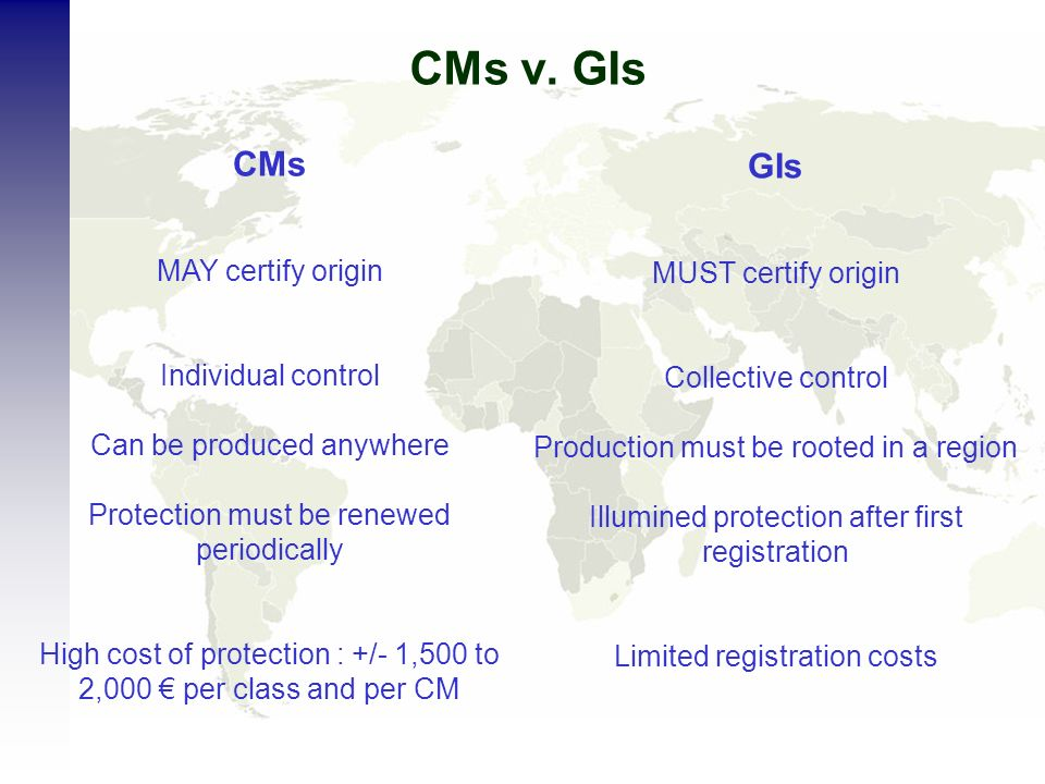 CMs v. GIs CMs MAY certify origin Individual control Can be produced anywhere Protection must be renewed periodically High cost of protection : +/- 1,