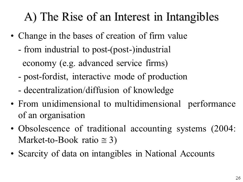 25 Reprinted from Baruch Levs Intangibles Management Measurement and Reporting, The Brookings Institution 2001 Why did market values diverge from book