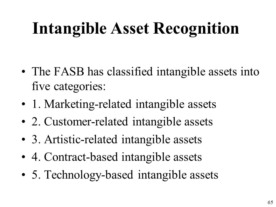64 Intangible Asset Recognition Separable intangible assets that have finite lives will continue to be amortized over their useful lives. A recognized