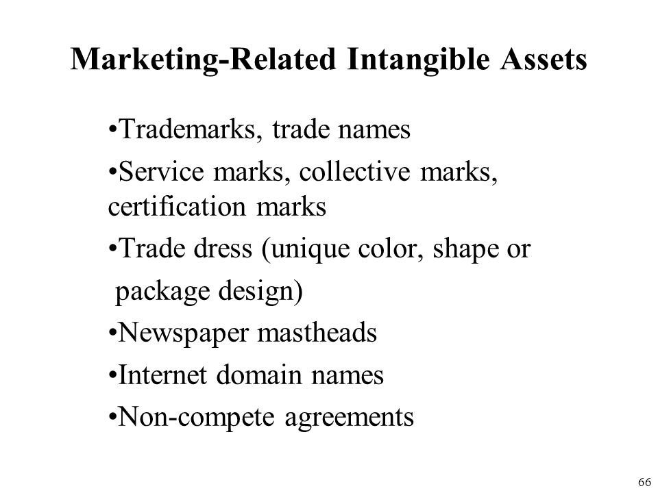 65 Intangible Asset Recognition The FASB has classified intangible assets into five categories: 1. Marketing-related intangible assets 2. Customer-rel