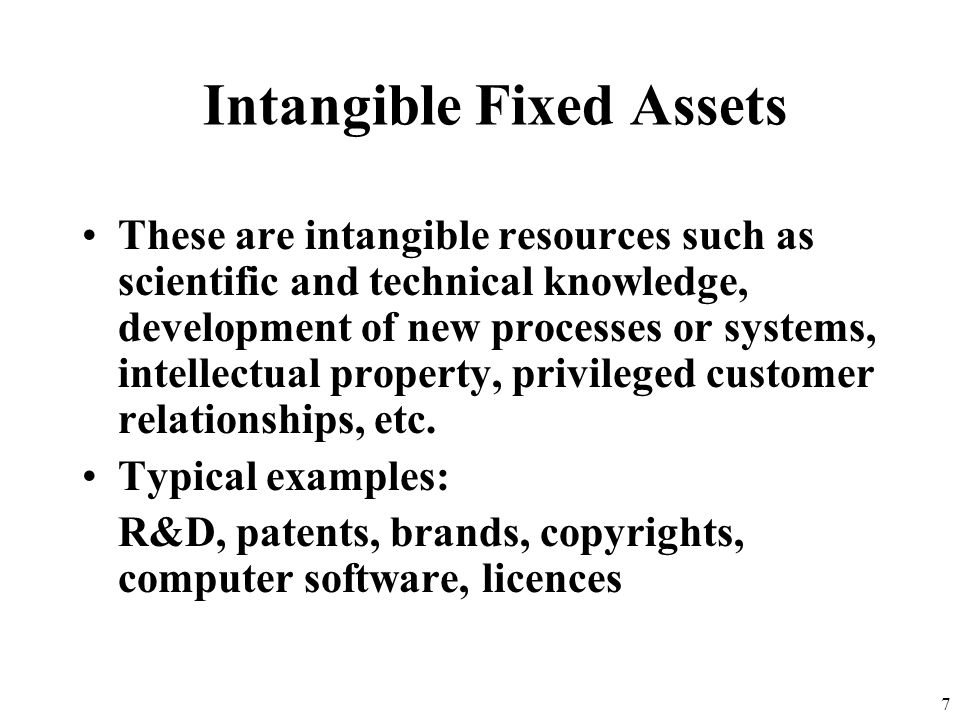 6 IAS 38 – Intangibles (cont.) Definition refers to identifiability –Separability, or –Arising from contractual or other legal rights Recognition crit