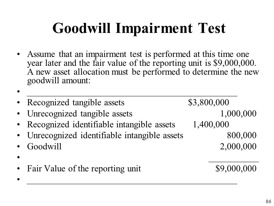 85 Goodwill Impairment Test After one year assume the carrying amount of certain assets after amortization are: ______________________________________