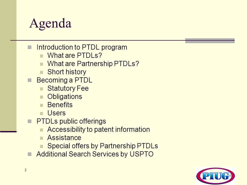 2 Agenda Introduction to PTDL program What are PTDLs.