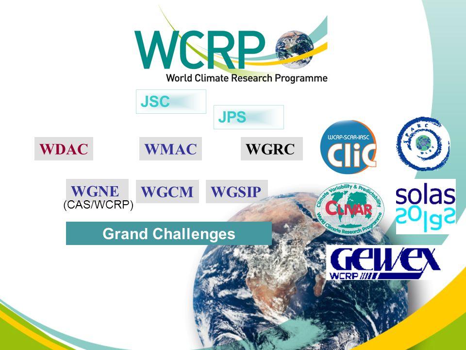 WGNE WGCMWGSIP JSC JPS (CAS/WCRP) WMACWDACWGRC Grand Challenges