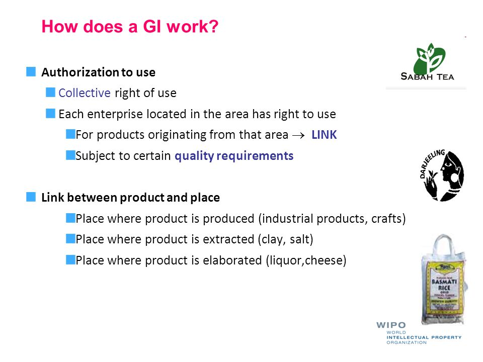 How does a GI work? Authorization to use Collective right of use Each enterprise located in the area has right to use For products originating from th
