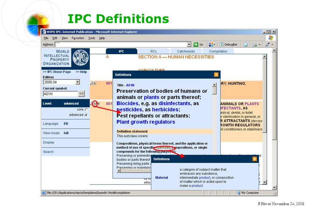 P.Fiévet November 24, 2008 IPC Definitions