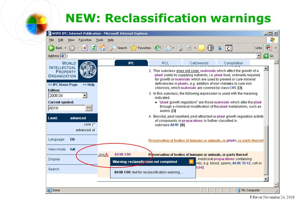 P.Fiévet November 24, 2008 NEW: Reclassification warnings