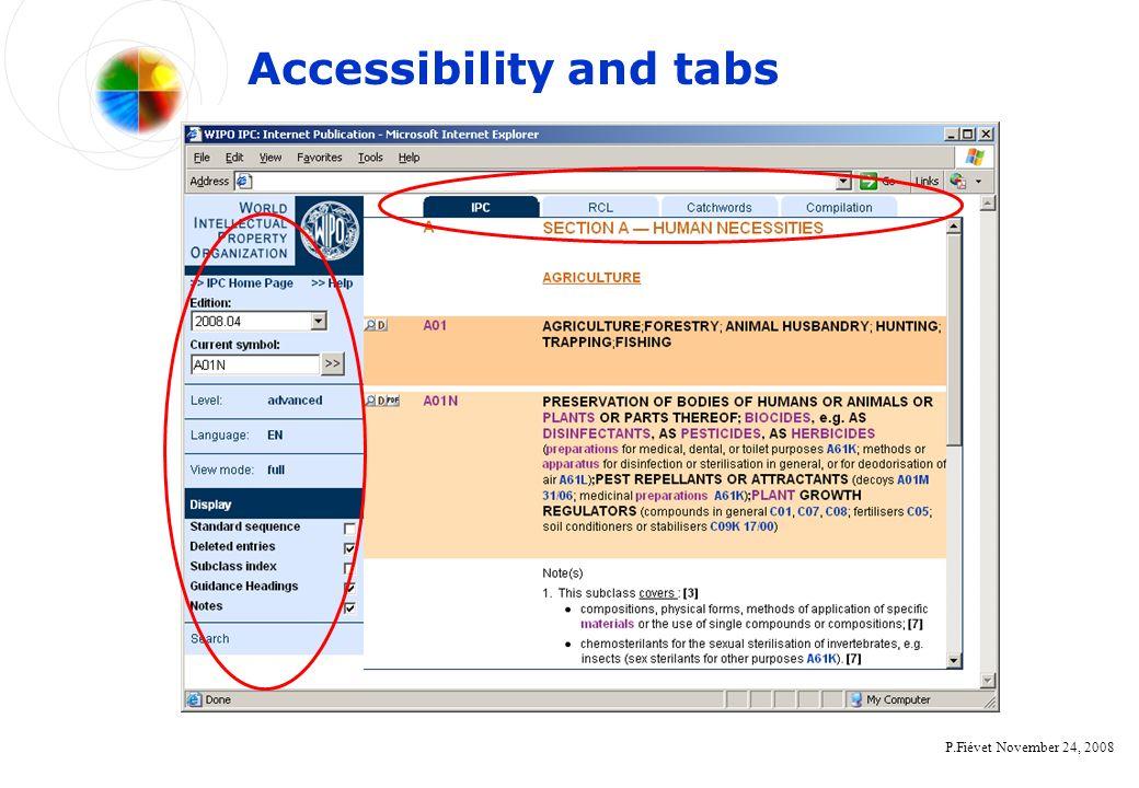 P.Fiévet November 24, 2008 Accessibility and tabs