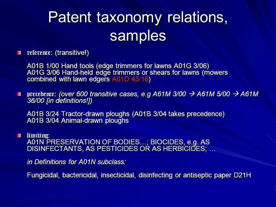 Patent taxonomy relations, samples reference: (transitive!) A01B 1/00 Hand tools (edge trimmers for lawns A01G 3/06) A01G 3/06 Hand-held edge trimmers