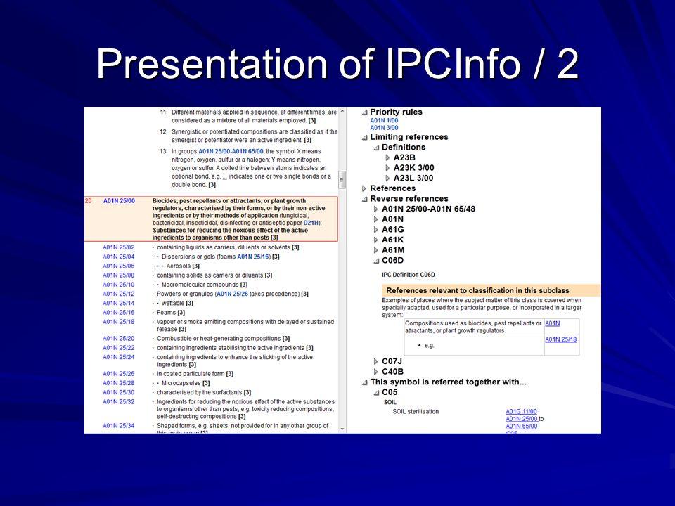 Presentation of IPCInfo / 2