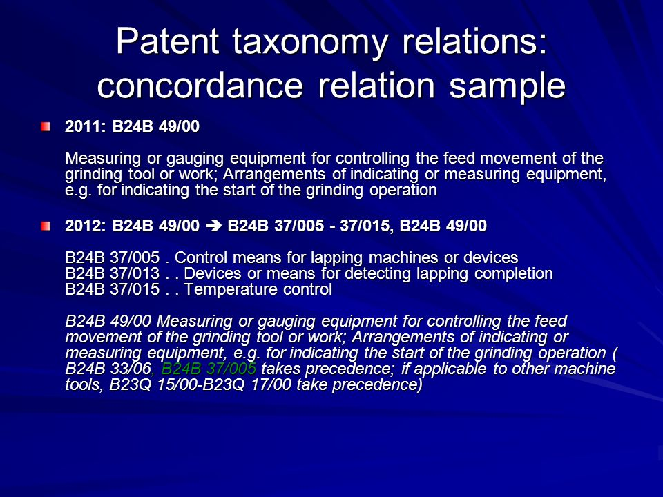 Patent taxonomy relations: concordance relation sample 2011: B24B 49/00 Measuring or gauging equipment for controlling the feed movement of the grindi