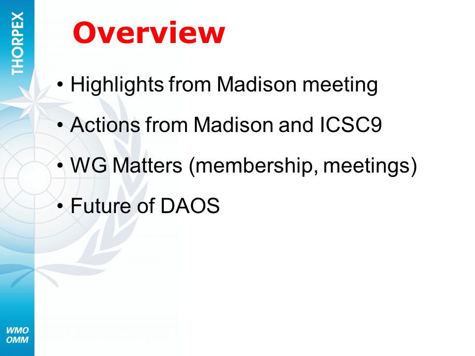 Overview Highlights from Madison meeting Actions from Madison and ICSC9 WG Matters (membership, meetings) Future of DAOS