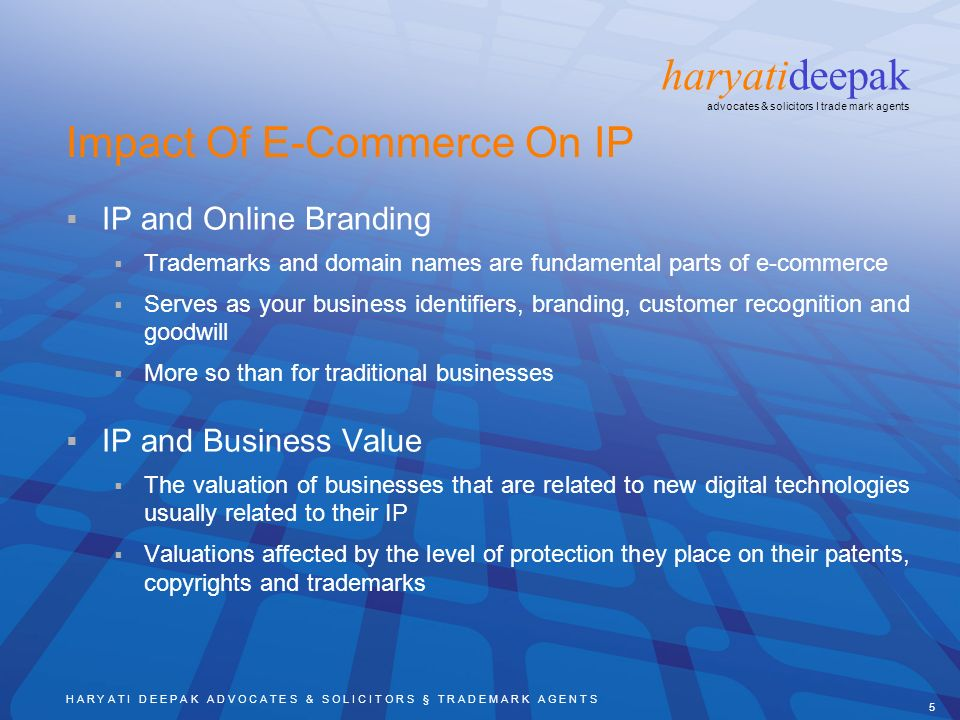 H A R Y A T I D E E P A K A D V O C A T E S & S O L I C I T O R S § T R A D E M A R K A G E N T S 5 haryatideepak advocates & solicitors I trade mark agents Impact Of E-Commerce On IP IP and Online Branding Trademarks and domain names are fundamental parts of e-commerce Serves as your business identifiers, branding, customer recognition and goodwill More so than for traditional businesses IP and Business Value The valuation of businesses that are related to new digital technologies usually related to their IP Valuations affected by the level of protection they place on their patents, copyrights and trademarks