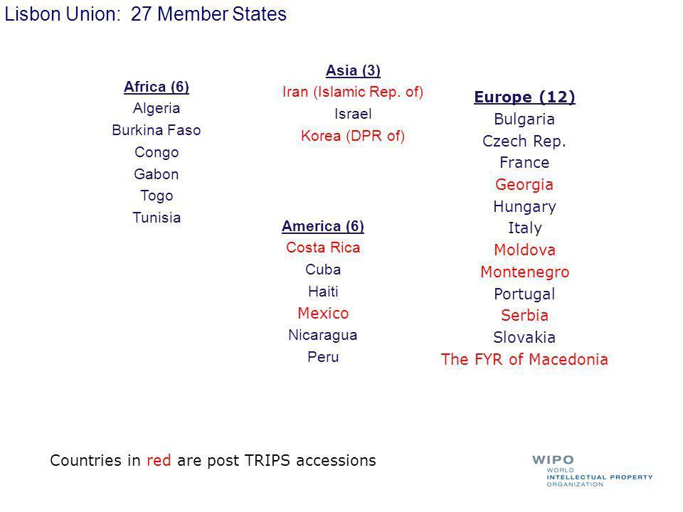 Lisbon Union: 27 Member States Africa (6) Algeria Burkina Faso Congo Gabon Togo Tunisia Asia (3) Iran (Islamic Rep.