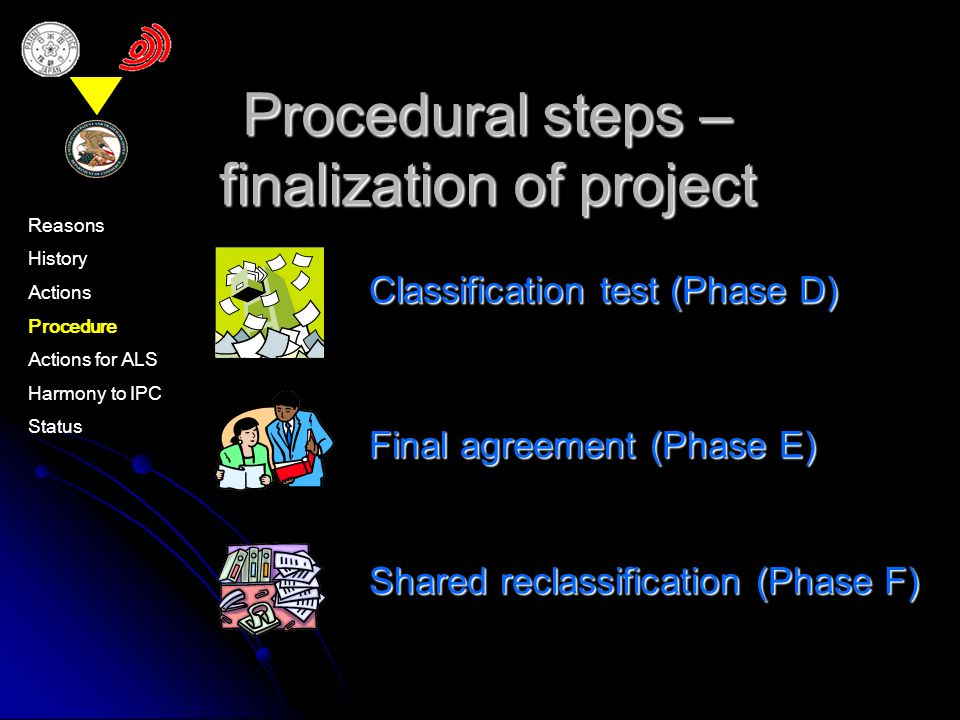 Final agreement (Phase E) Shared reclassification (Phase F) Procedural steps – finalization of project Classification test (Phase D) Reasons History Actions Procedure Actions for ALS Harmony to IPC Status