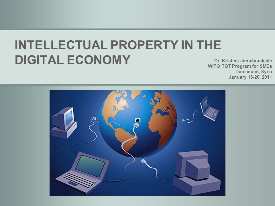 INTELLECTUAL PROPERTY IN THE DIGITAL ECONOMY Dr.