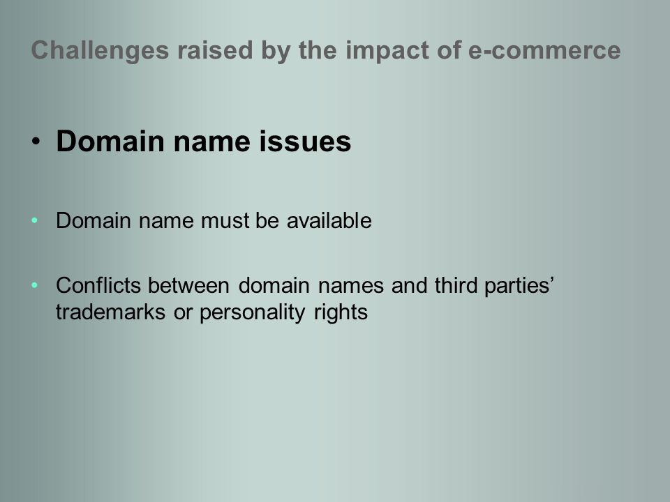 Domain name issues Domain name must be available Conflicts between domain names and third parties trademarks or personality rights Challenges raised by the impact of e-commerce