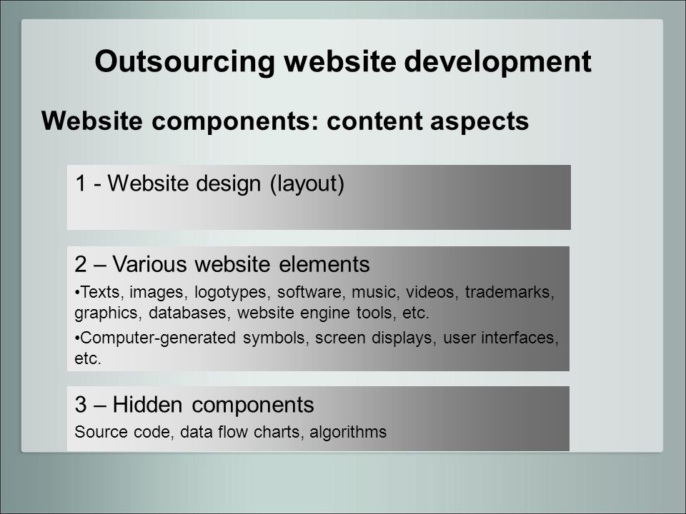 Outsourcing website development Website components: content aspects 1 - Website design (layout) 2 – Various website elements Texts, images, logotypes, software, music, videos, trademarks, graphics, databases, website engine tools, etc.