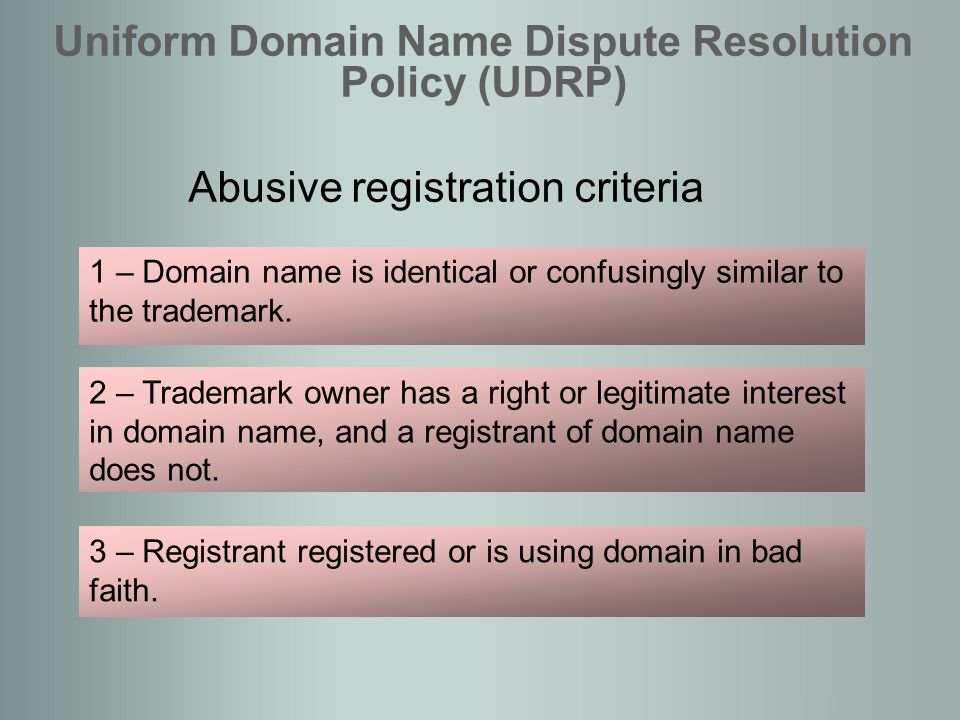 Abusive registration criteria Uniform Domain Name Dispute Resolution Policy (UDRP) 1 – Domain name is identical or confusingly similar to the trademark.