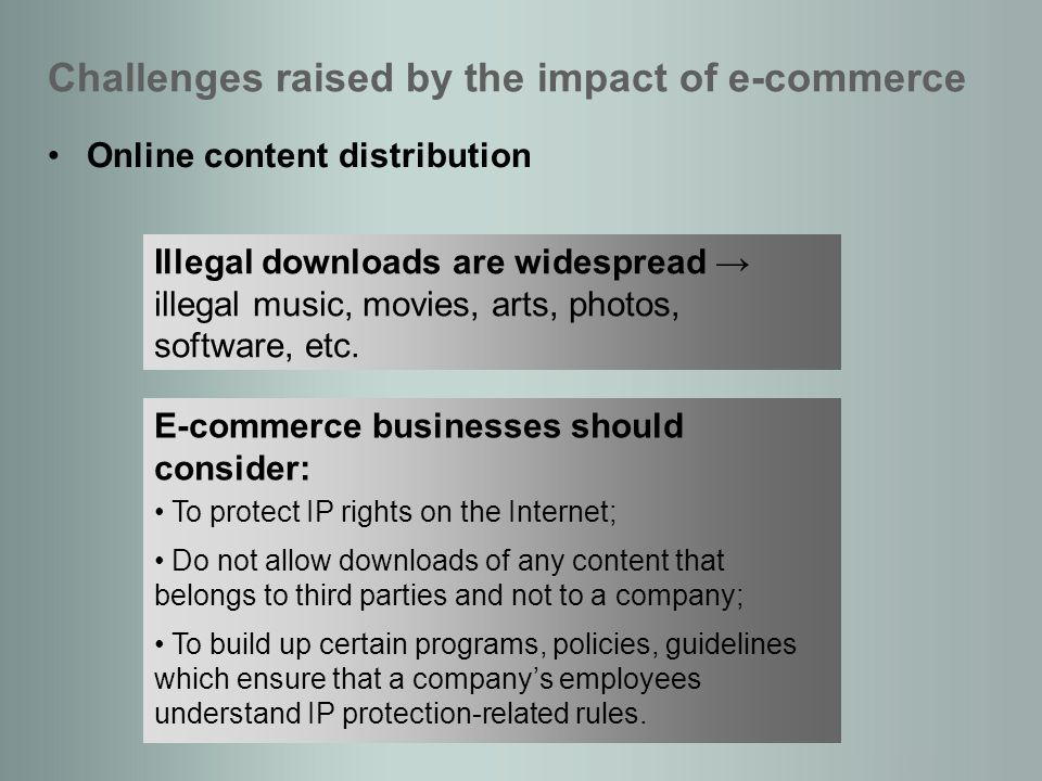 Online content distribution Challenges raised by the impact of e-commerce Illegal downloads are widespread illegal music, movies, arts, photos, software, etc.