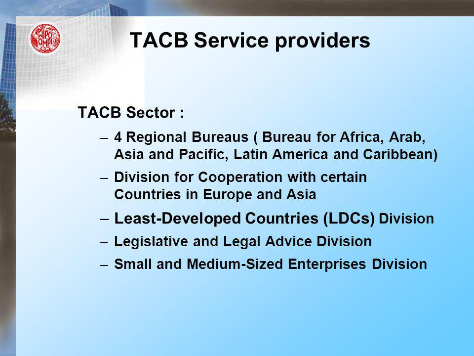 TACB Sector : –4 Regional Bureaus ( Bureau for Africa, Arab, Asia and Pacific, Latin America and Caribbean) –Division for Cooperation with certain Cou