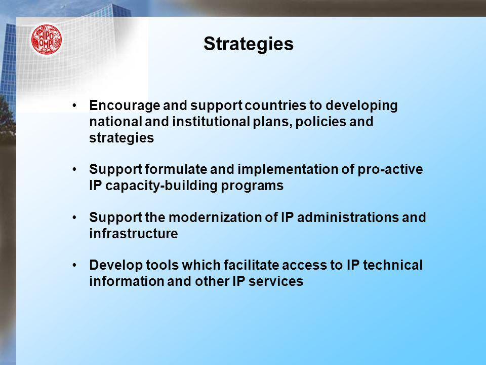 Provide advice to enable countries to make informed decisions in updating of IP legislations and use of flexibilities Foster inter and intra-regional cooperation Strategies (contd)