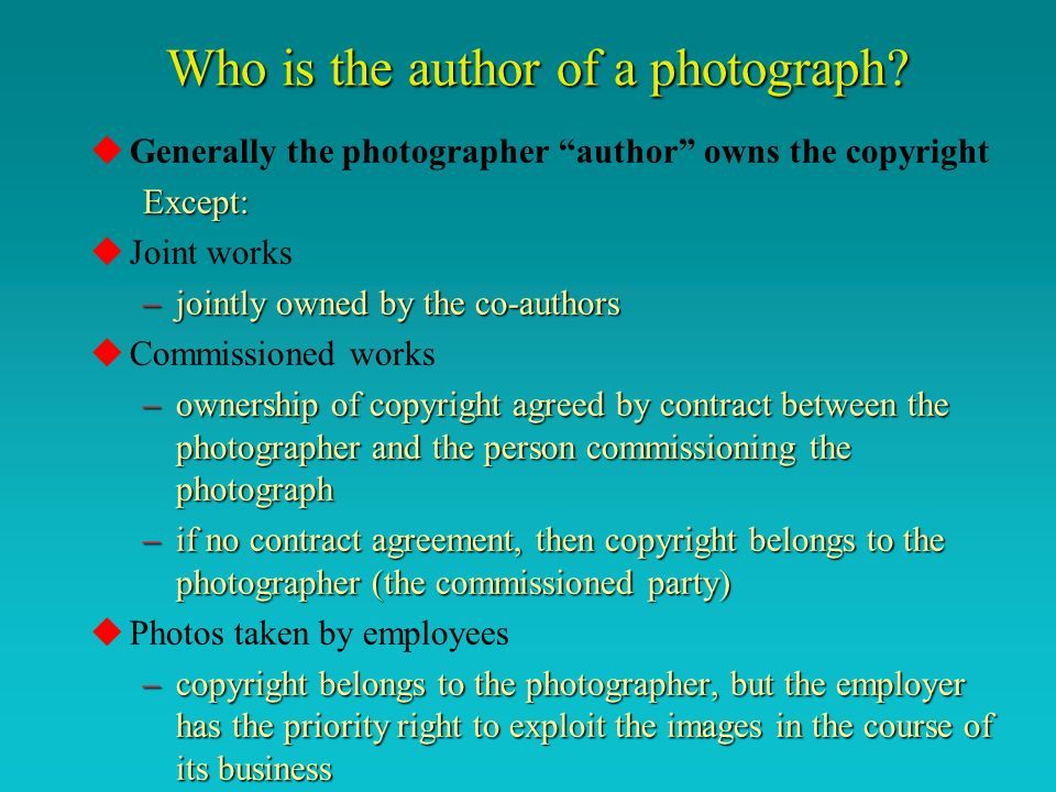 Who is the author of a photograph.