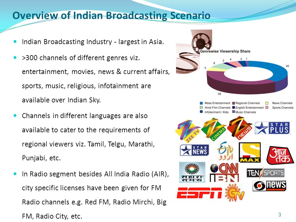 Overview of Indian Broadcasting Scenario Indian Broadcasting Industry - largest in Asia. >300 channels of different genres viz. entertainment, movies,