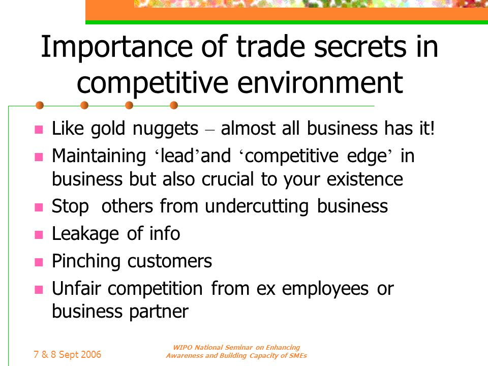 7 & 8 Sept 2006 WIPO National Seminar on Enhancing Awareness and Building Capacity of SMEs Importance of trade secrets in competitive environment Like