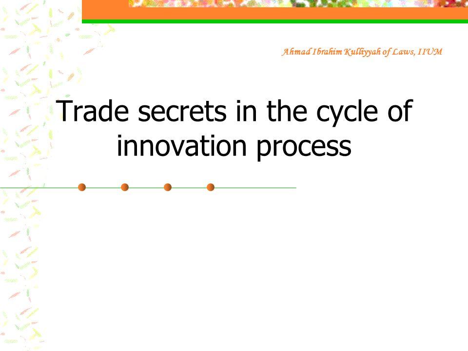 Trade secrets in the cycle of innovation process Ahmad Ibrahim Kulliyyah of Laws, IIUM