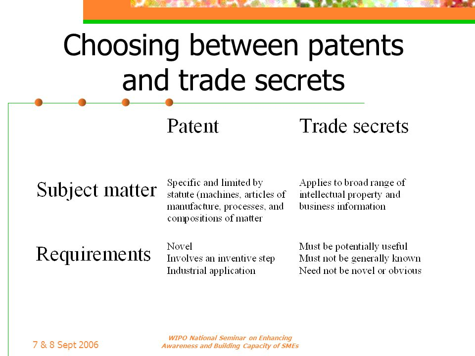 7 & 8 Sept 2006 WIPO National Seminar on Enhancing Awareness and Building Capacity of SMEs Choosing between patents and trade secrets