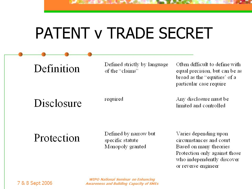7 & 8 Sept 2006 WIPO National Seminar on Enhancing Awareness and Building Capacity of SMEs PATENT v TRADE SECRET