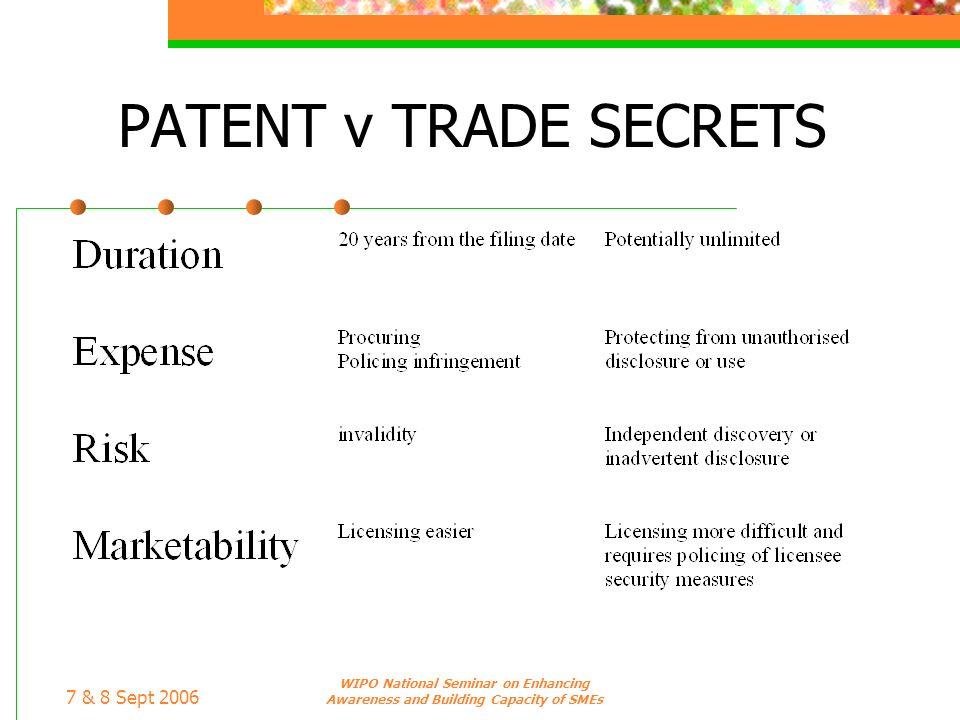 7 & 8 Sept 2006 WIPO National Seminar on Enhancing Awareness and Building Capacity of SMEs PATENT v TRADE SECRETS