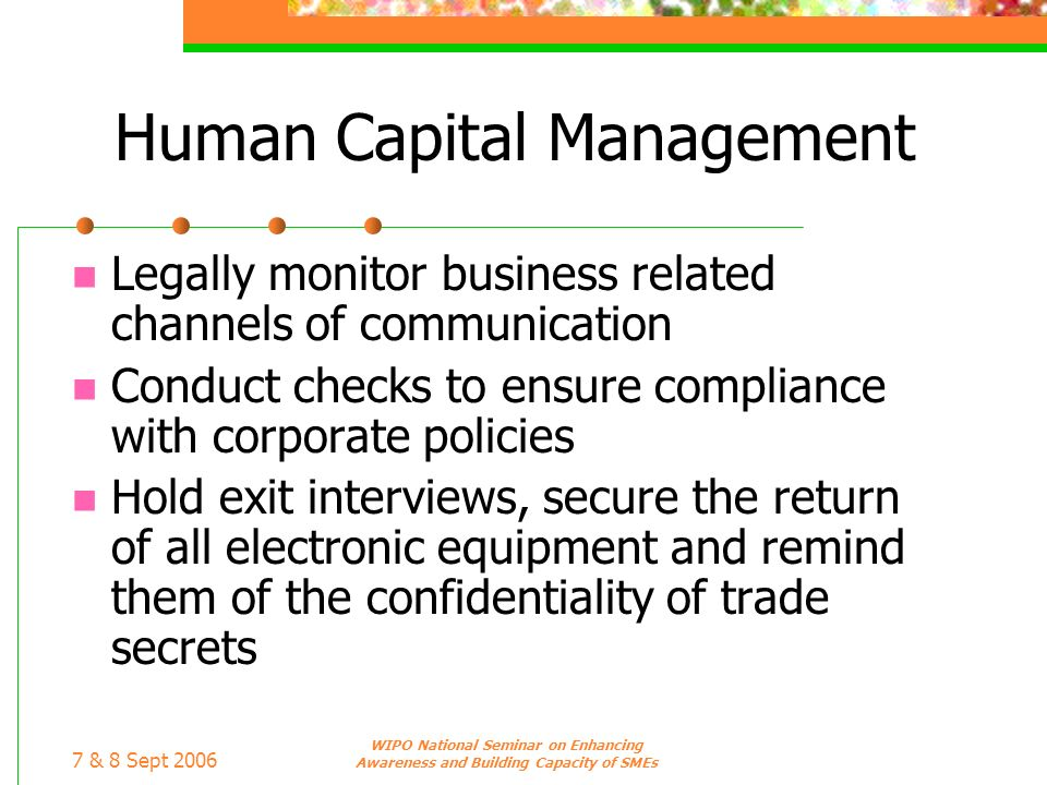 7 & 8 Sept 2006 WIPO National Seminar on Enhancing Awareness and Building Capacity of SMEs Human Capital Management Legally monitor business related c