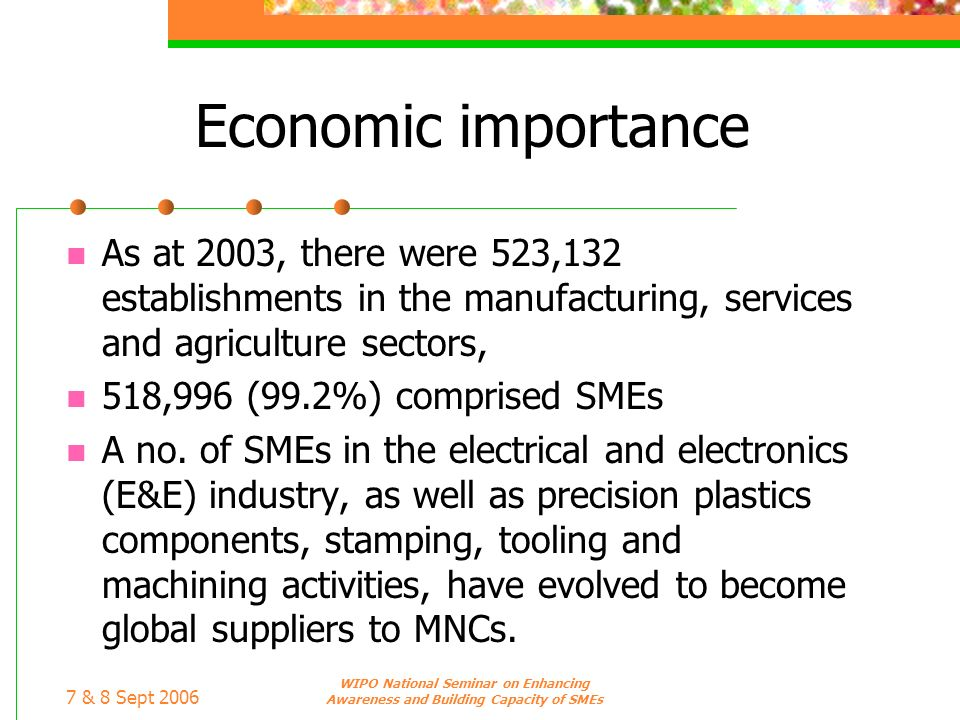 7 & 8 Sept 2006 WIPO National Seminar on Enhancing Awareness and Building Capacity of SMEs Economic importance As at 2003, there were 523,132 establis