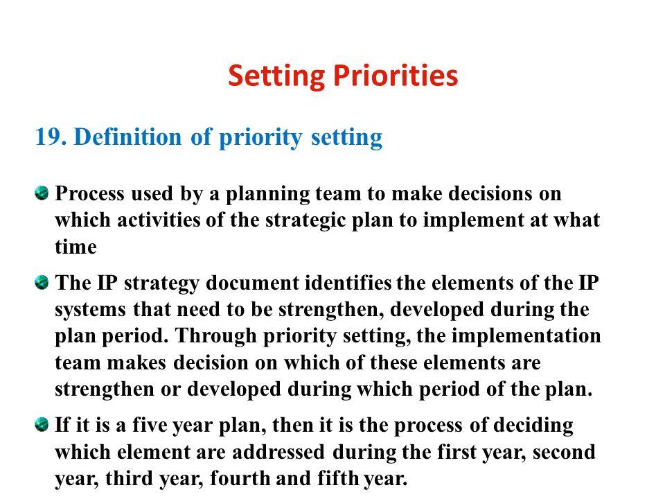 Setting Priorities 19.