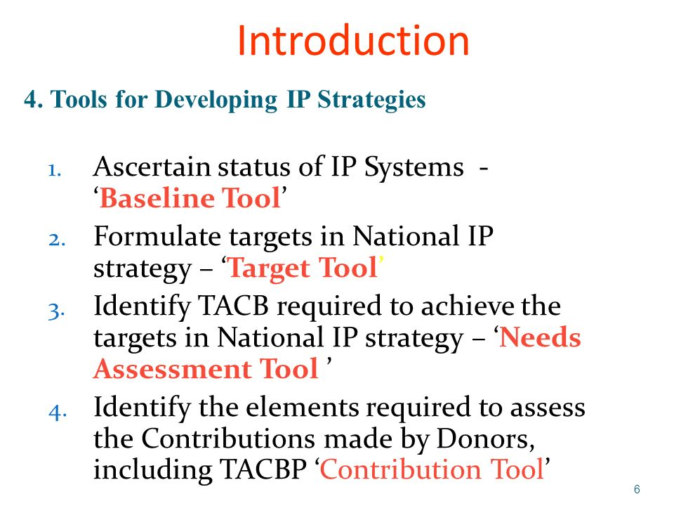 7 5.Components 1. Key components of IP systems IP mechanisms IP Administrations IP Enforcement 2.